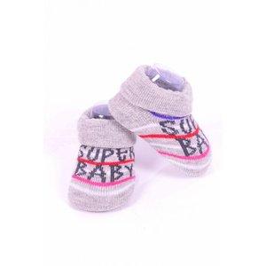 APOLLO sokjes Super Baby grijs met zwart giftbox! Newborn - Roze streep