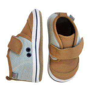 MELTON leren baby schoentjes bruin met blauw