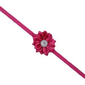 haarbandje met bloem en steentje donker roze