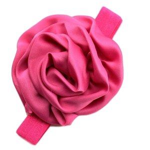 haarbandje met bloem donker roze