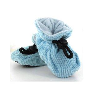 MELTON baby slofjes babyblauw met ribstof