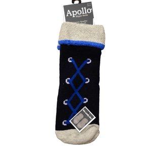 APOLLO anti-slipsokken marineblauw met veterprint