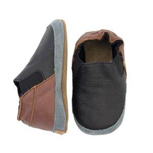 MELTON leren - suede sneakers black brown