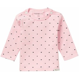 NOPPIES New York nos longsleeve light rose hartjespatroon