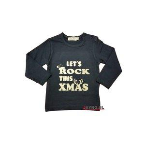 DIRKJE BABYKLEDING longsleeve marineblauw met zilveren letters Let's rock this christmas blits