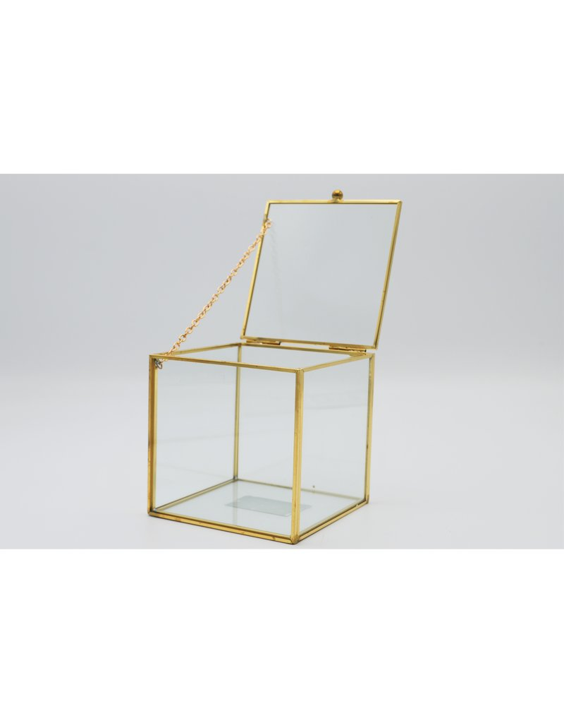 . Vitrine box goud large  10x10x10 cm (LxBxH)