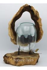 . Glas op hout cirkel