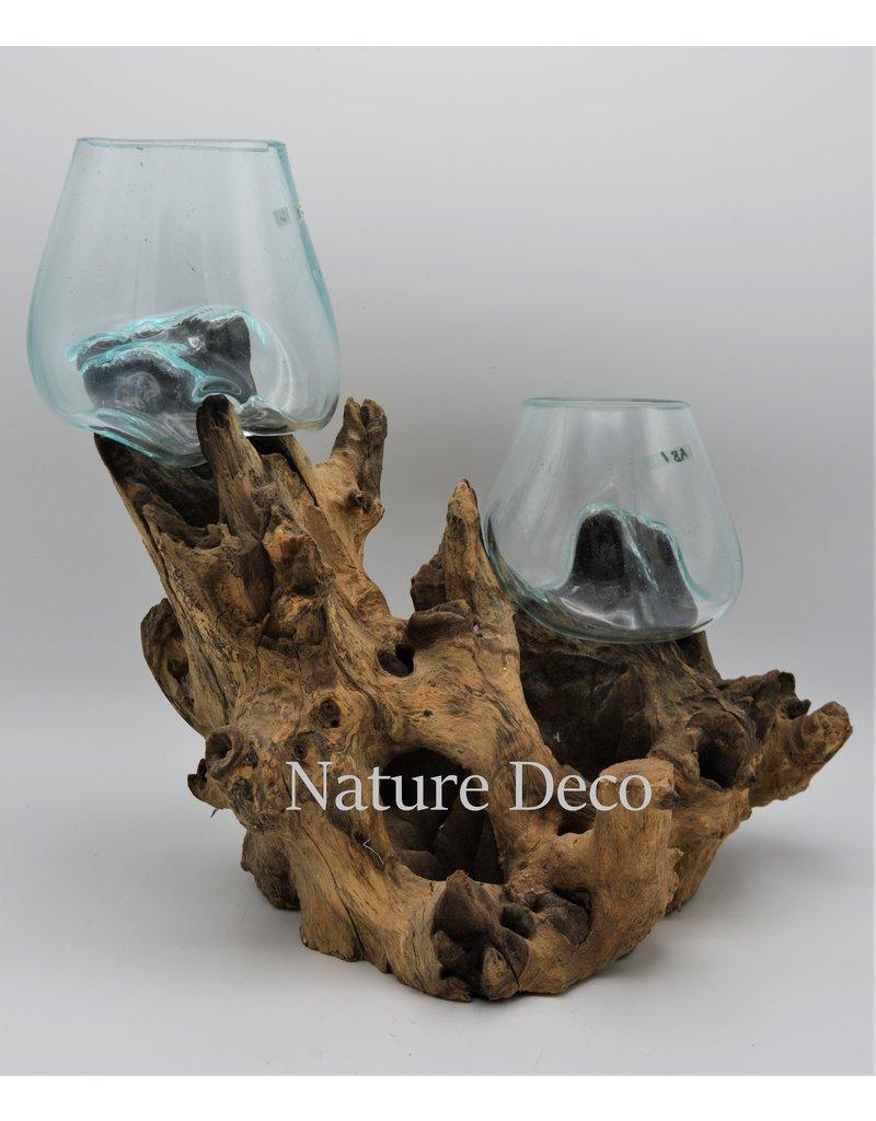 . Glas op hout duo