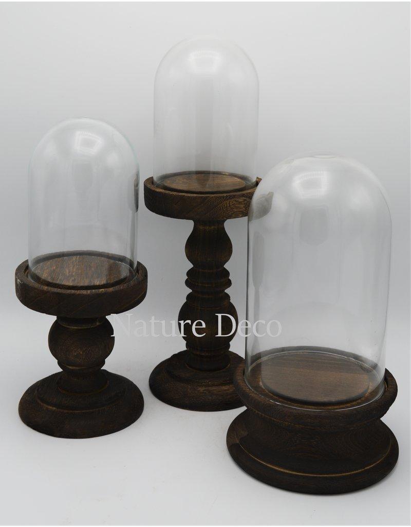 . Glass dome on pedestal medium