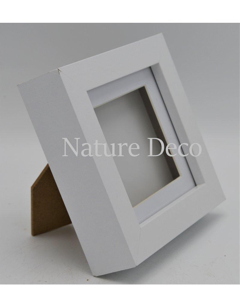 Nature Deco Luxe 3D lijst klein wit 12 x 12cm