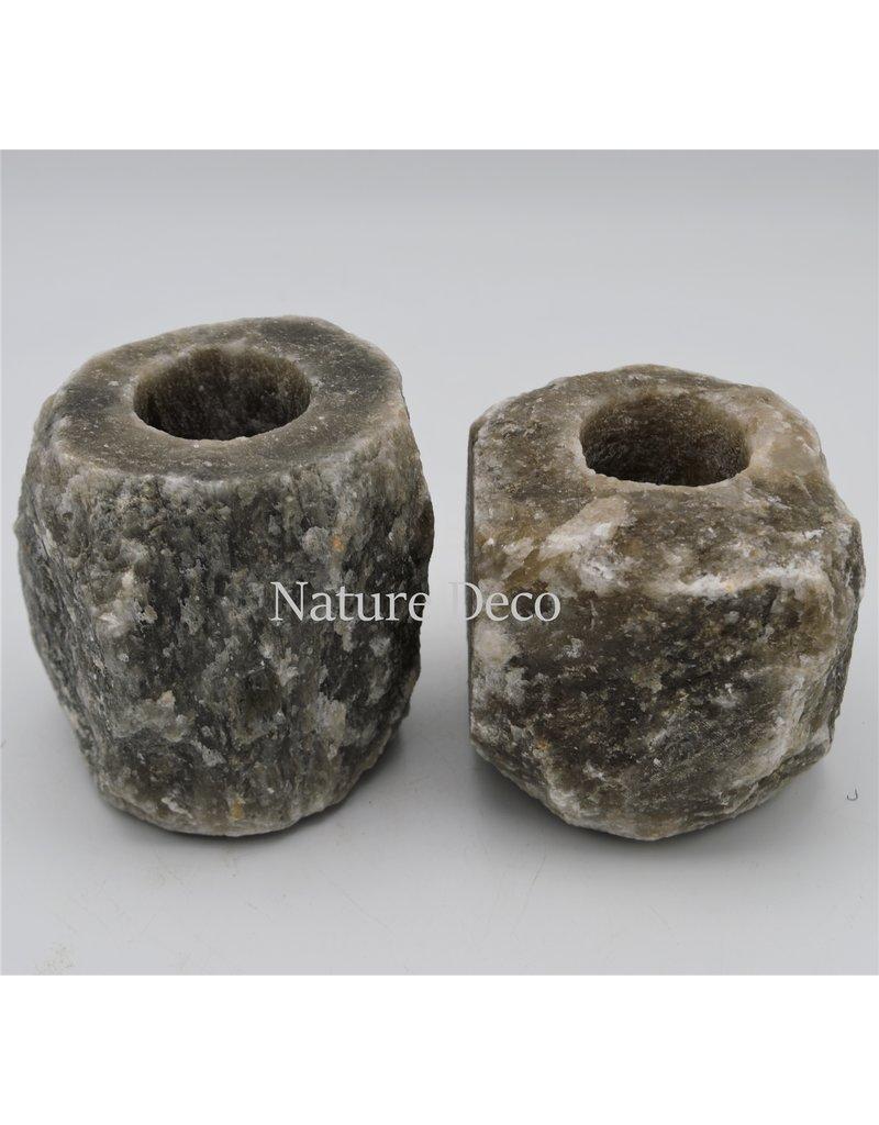 . Gray / black salt stone tea light holder