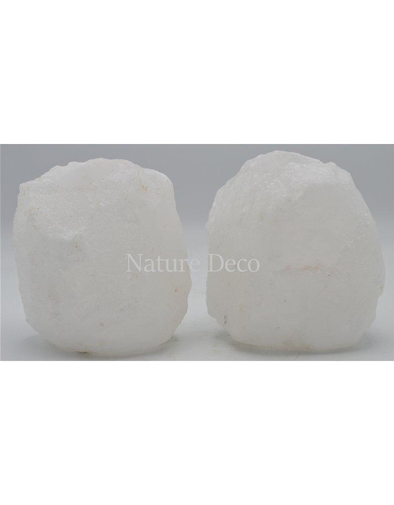 . White salt stone tea light holder (dead sea salt)