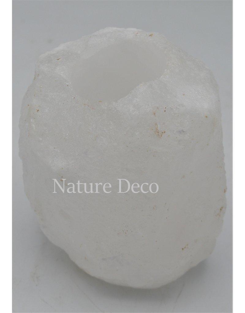 . Wit zoutsteen waxinelichthouder (Dode zeezout)