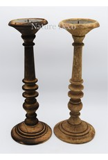 . Wooden candle stand  large blanco