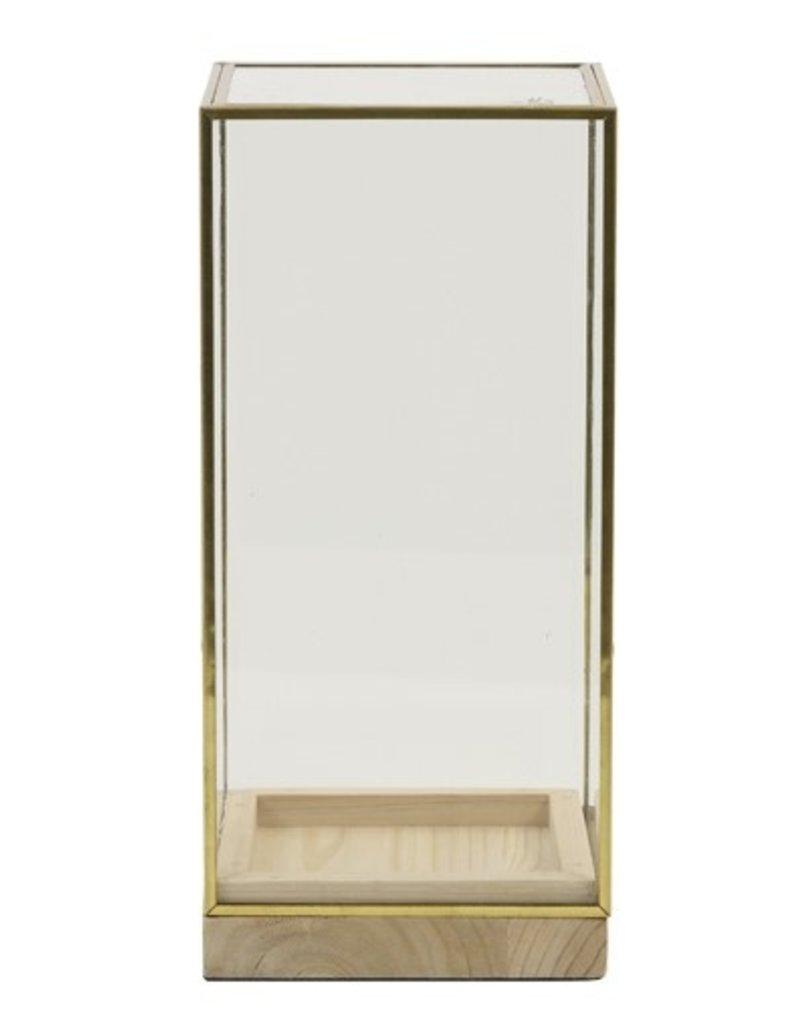. Square glass dome gold 15x15x30 cm