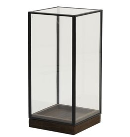 . Square glass dome black