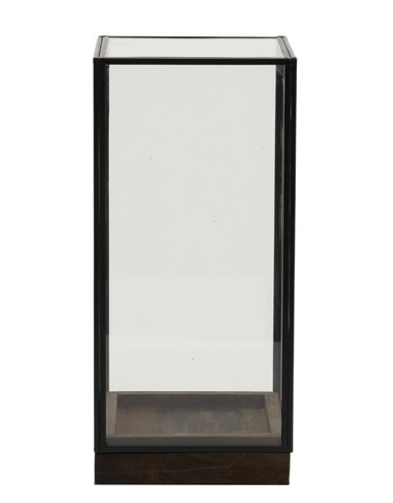 . Square glass dome black 15x15x30 cm