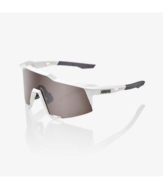 100% Speedcraft Matte White HiPER® Silver Mirror Lens Fietsbril