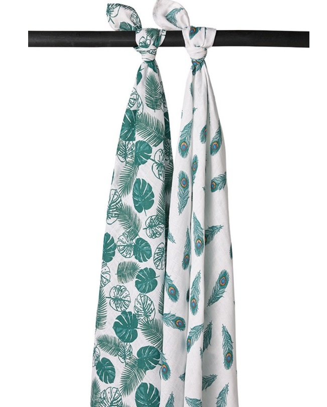Meyco 2-Pack Swaddle Tropical Leaves-Peacook Emerald