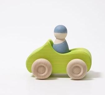 Grimm's Houten Cabrio Auto + 1 vriendje - Groen