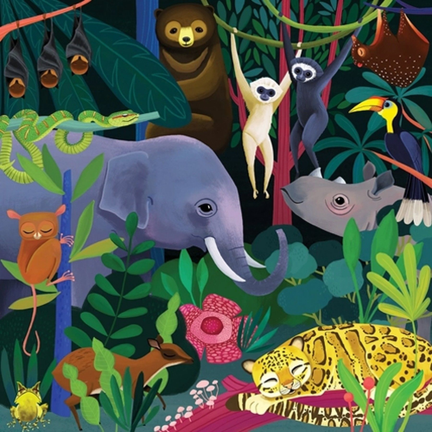Mudpuppy Glow In The Dark Puzzel Jungle (500-delig)