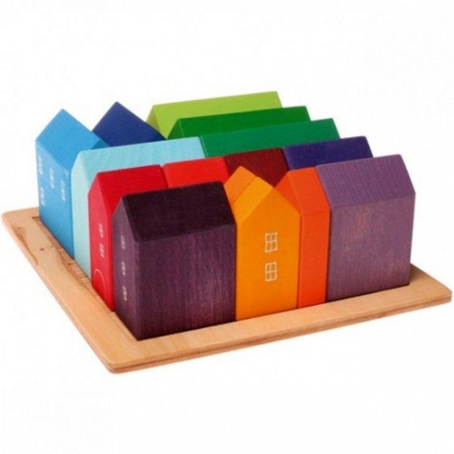 Grimm's Bouwblokken Kleine Houten Huisjes