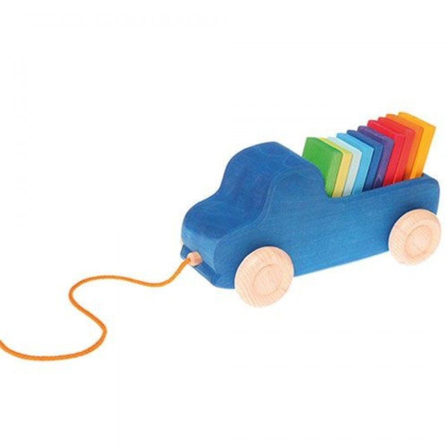 Grimm's Houten Trekauto Vrachtwagen met Lading