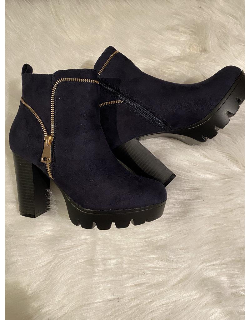 Schoen enkellaars Donker blauw Rits