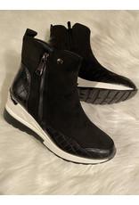Schoen enkellaars kort model Daim Zwart