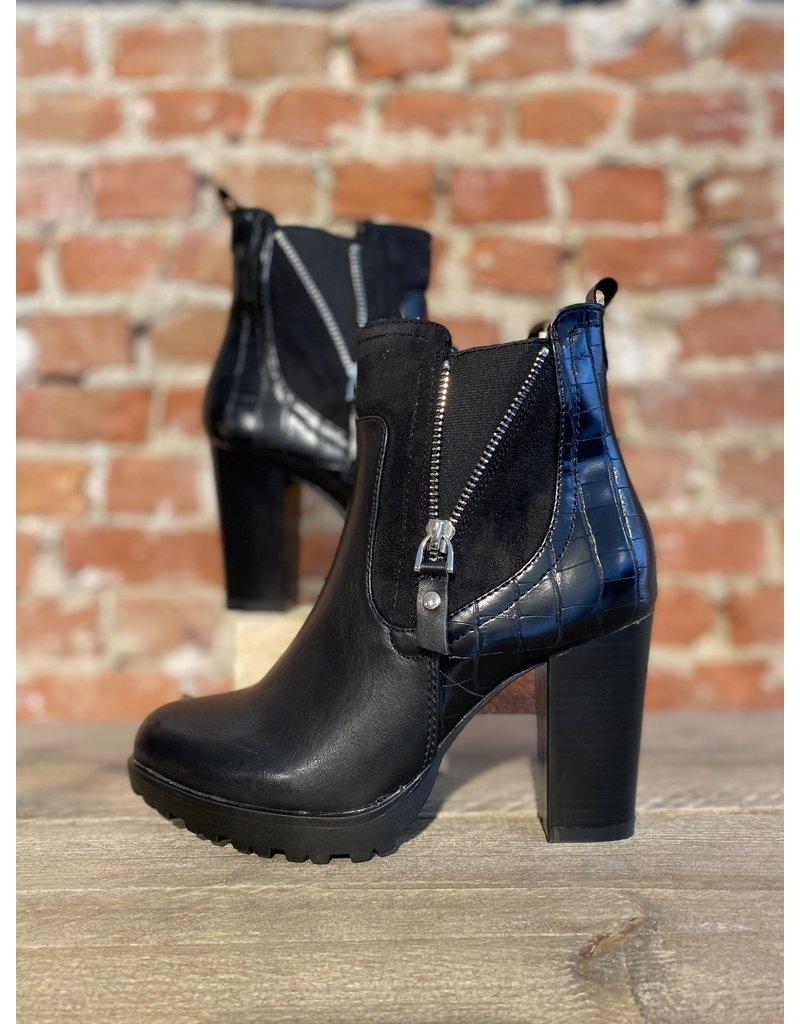 Schoen enkellaars met rits Zwart