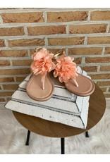 Sandalen bloem roos