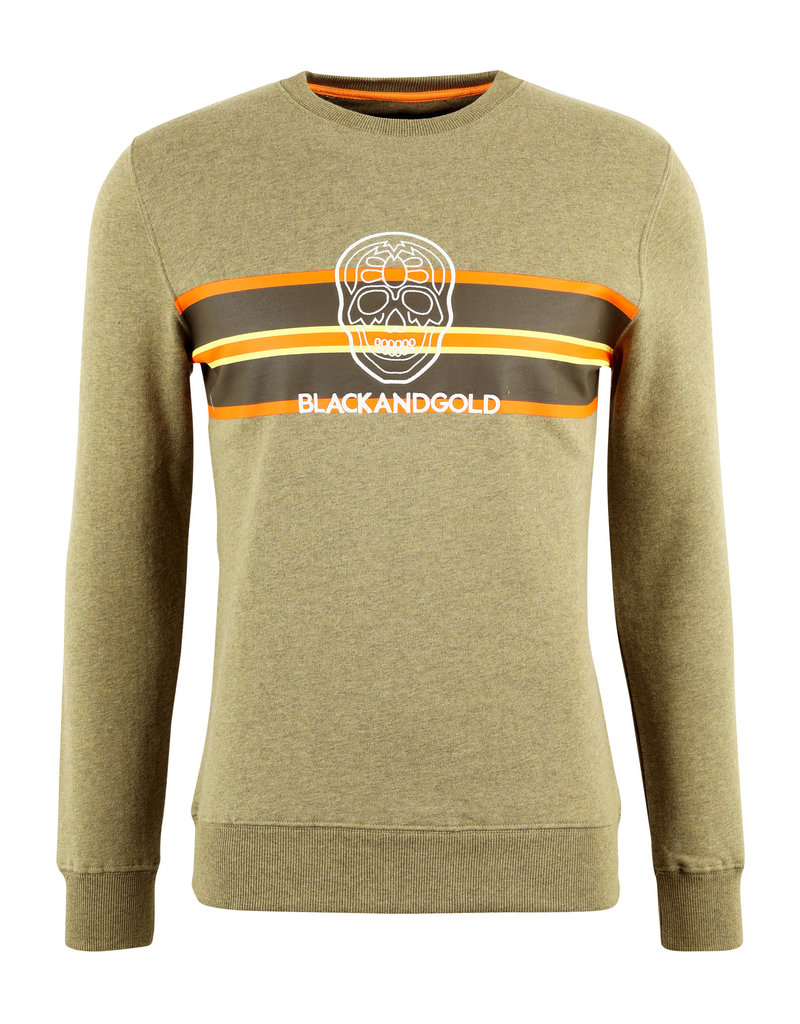 Sweater Seventos Black and Gold Kaki Melange