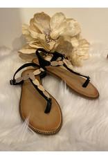 Schoen sandaal veren Zwart