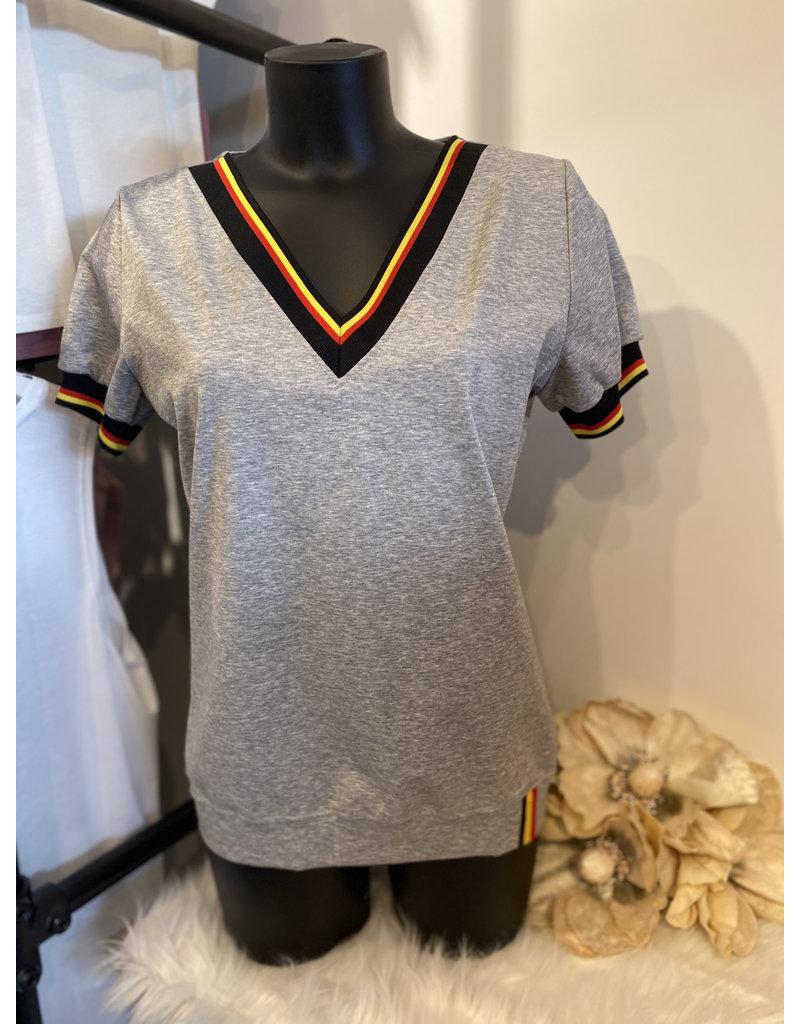 T-shirt Belgie V-Hals Grijs