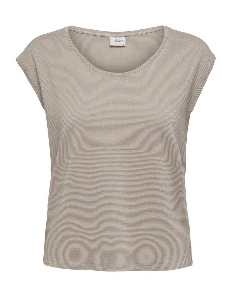T-Shirt Runa Ronde hals Jacqueline de Yong Chateau Grey