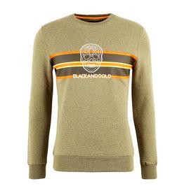 Sweater Seventos Black and Gold Kaki Melange M