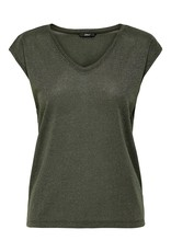 Only T-Shirt Silvery V-Neck Lurex Only