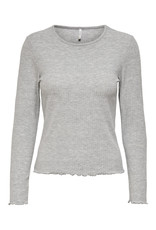 Only T-Shirt NELLA Lange mouw Only Light Grey