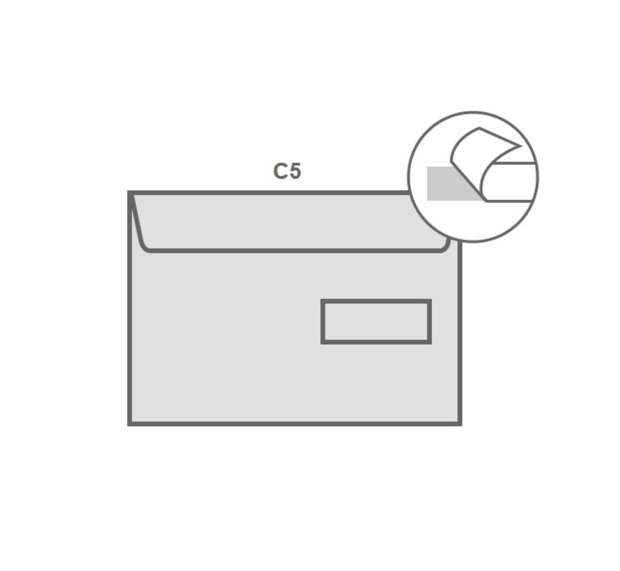 Witte envelop C5 162 x 229 mm venster rechts doos 500 stuks