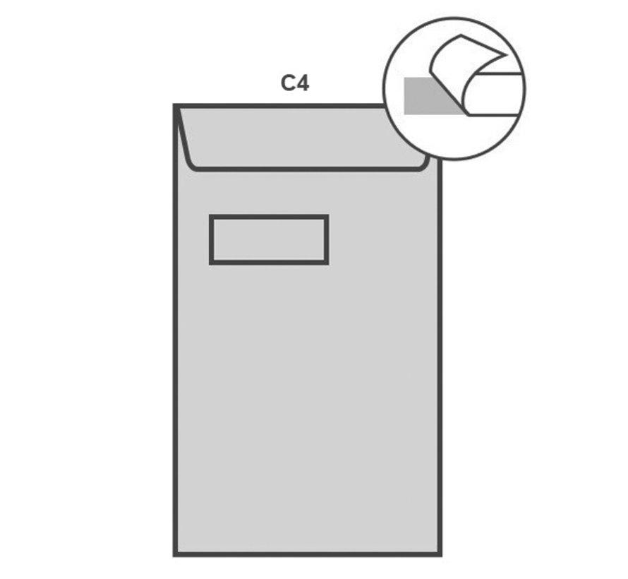 Witte akte envelop C4 229 x 324 mm venster links doos 250 stuks