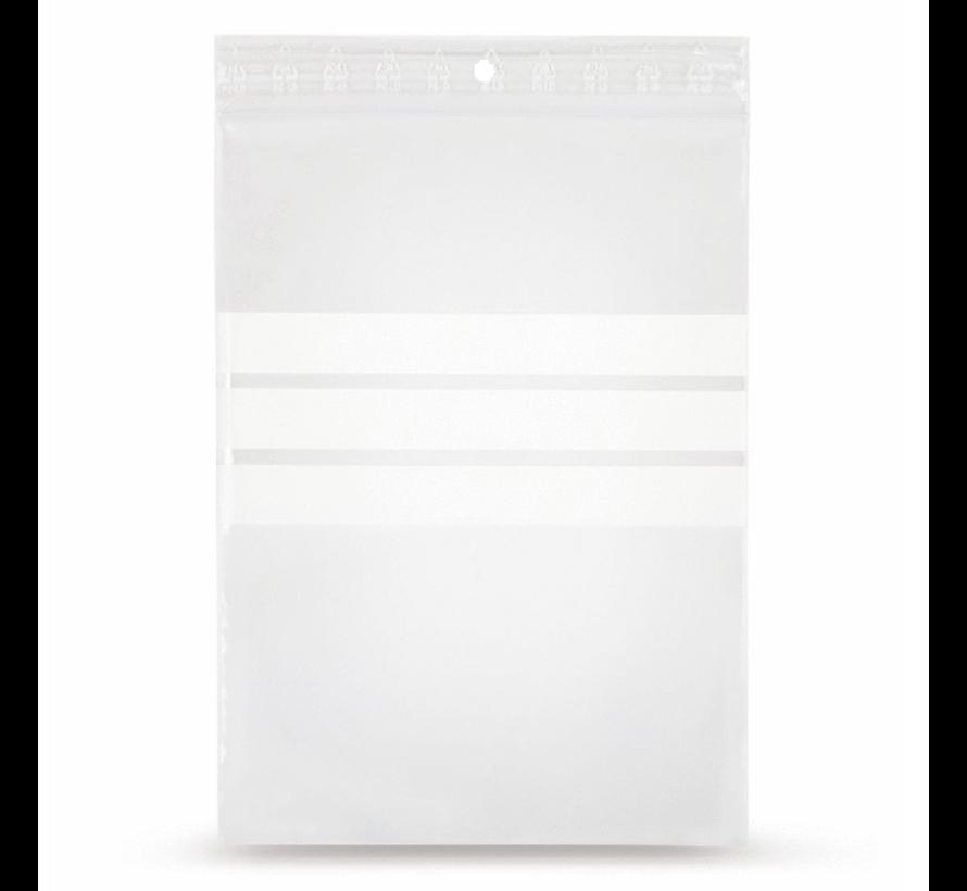 Gripzakje 120 x 180 mm met schrijfvlak en druksluiting doos 1000 stuks
