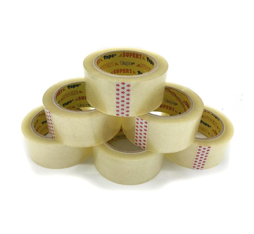 Verpakkingstape High Tack Acryl Tape Transparant 32 my - 6 Rollen