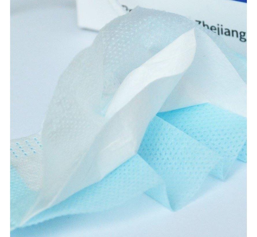 3-laags mondkapjes - Gesealde verpakking - dispenserdoos 50 stuks - Conform NEN-EN 149:2001+A1:2009