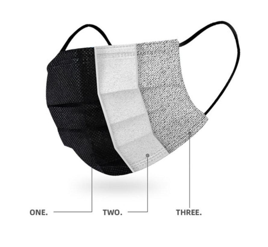 3-laags mondkapjes zwart - Gesealde verpakking - dispenserdoos 50 stuks - Conform NEN-EN 149:2001+A1:2009