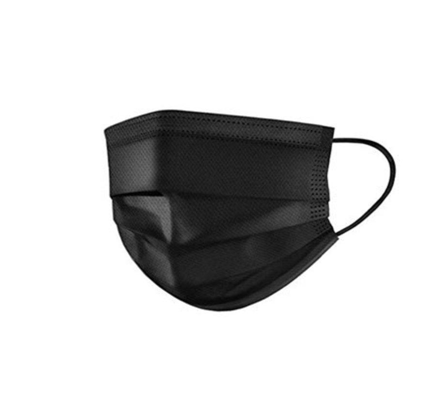 3-laags mondkapjes zwart Type I - 50 stuks - Conform NEN-EN
