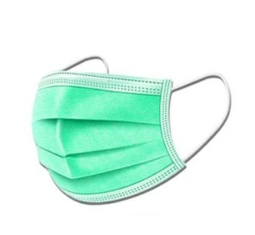 3-laags mondkapjes Groen Type I - Gesealde verpakking - 50 stuks - Conform NEN-EN 149:2001+A1:2009