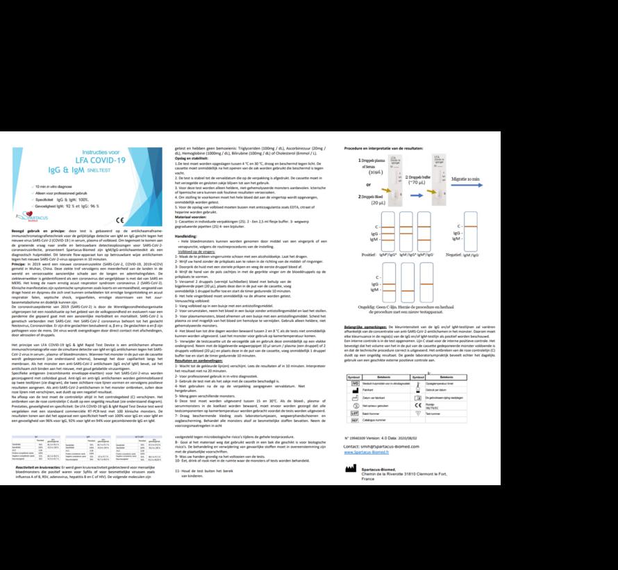 Corona sneltest (25 stuks) - bloedmonster - lgG & IgM test Spartacus-Biomed