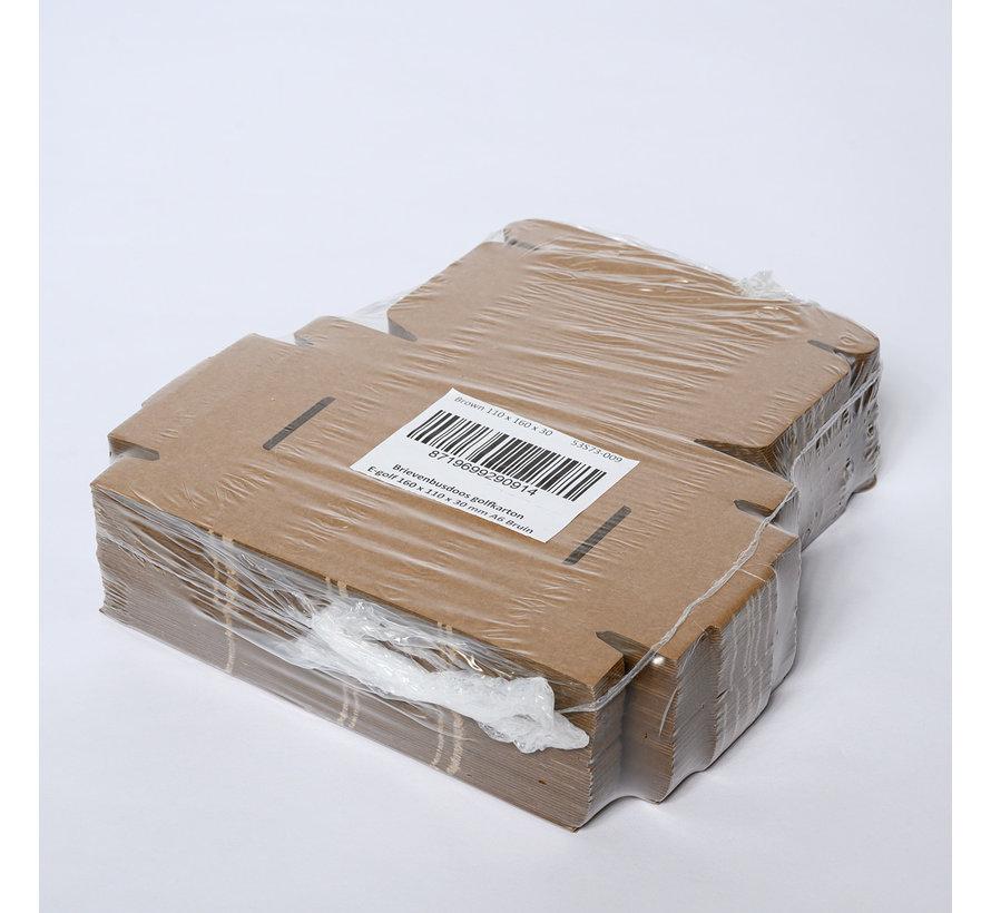 Brievenbusdoos golfkarton E-golf 160 x 110 x 30 mm A6 Bruin - Bundel met 50 postdozen