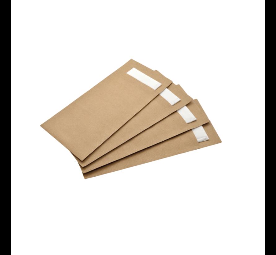 Bestekzak kraft met witte servet - 600 stuks / €0,07 per stuk