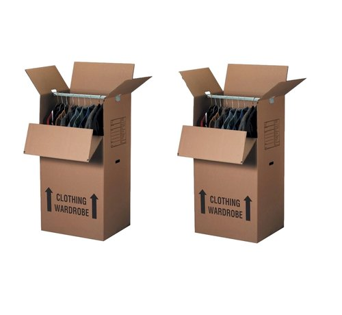 Kledingdoos Garderobedoos inclusief Roede pakket 2 stuks - Verhuisdoos voor kleding 102 x 50 x 50 - 2 Dozen